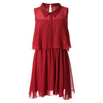 Sweet Sleeveless Flat Collar Solid Color Chiffon Women's Dress - WINE RED 2XL