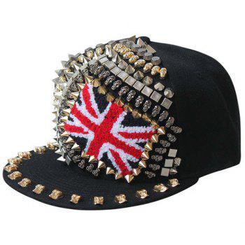 Punk Style Pointed Rivet Skull Union Flag Shape Embellished Men's Baseball Cap