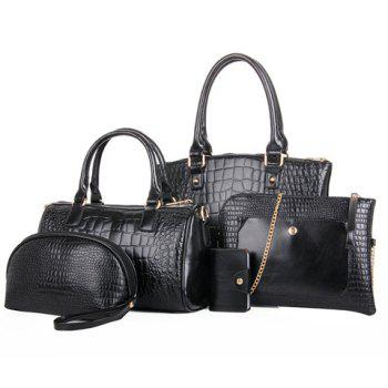 Gorgeous PU Leather and Crocodile Print Design Tote Bag For Women - BLACK BLACK