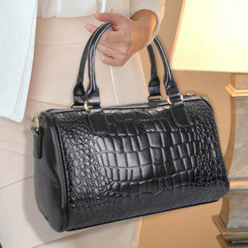 Gorgeous PU Leather and Crocodile Print Design Tote Bag For Women -  BLACK