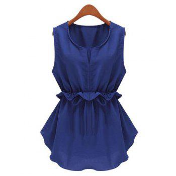 Stylish Scoop Neck Sleeveless Solid Color Ruffled Drawstring Chiffon Blouse For Women
