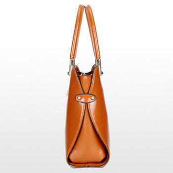 Fashion Style Solid Color and Metallic Design Tote Bag For Women - BROWN