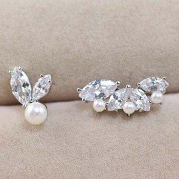 Pair of Sweet Leaf Shape Rhinestone Embellished Irregular Earrings For Women