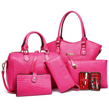 Crocodile Embossed Tote Handbag 6Pc Set - ROSE ROSE