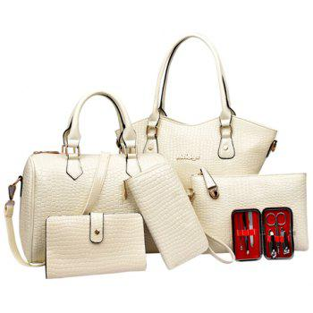 Crocodile Embossed Tote Handbag 6Pc Set - WHITE WHITE