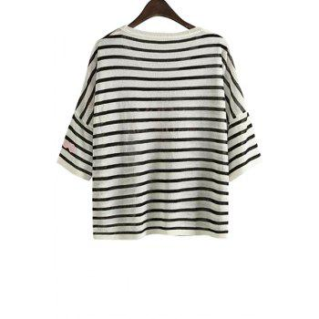 Fashionable Scoop Neck Stripe Letter Embroidery Half Sleeve Sweater For Women - WHITE ONE SIZE(FIT SIZE XS TO M)