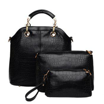 Fashion Style Crocodile Print and Metallic Design Tote Bag For Women - BLACK BLACK