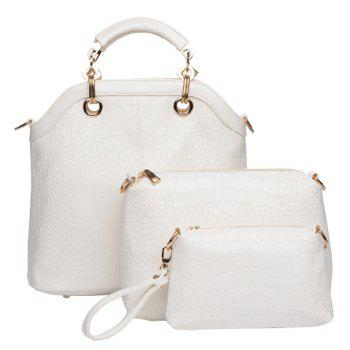 Fashion Style Crocodile Print and Metallic Design Tote Bag For Women - OFF-WHITE OFF WHITE