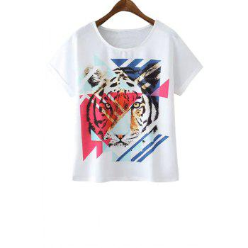 Casual Style Scoop Collar Short Sleeve Tiger Print Women's T-Shirt