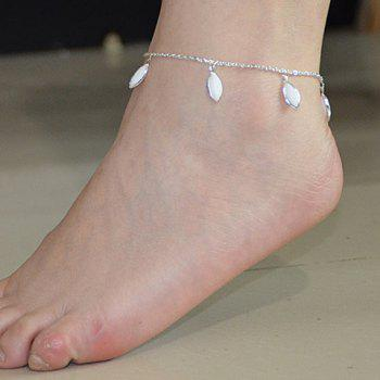 Fashionable Leaf Shape Faux Crystal Decorated Anklet For Women - SILVER SILVER