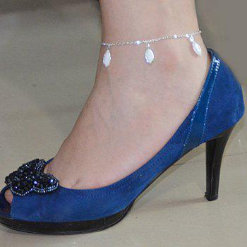 Fashionable Leaf Shape Faux Crystal Decorated Anklet For Women -  SILVER