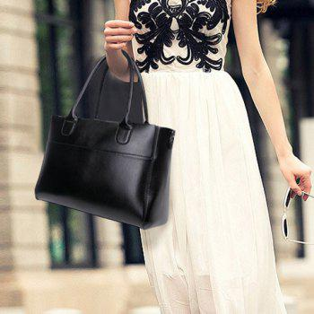 Concise Zip and Solid Color Design Tote Bag For Women -  BLACK