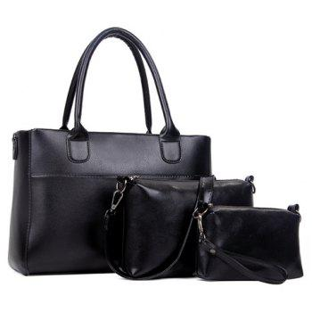 Concise Zip and Solid Color Design Tote Bag For Women - BLACK BLACK