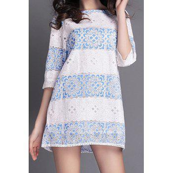 Fashionable Jewel Neck Blue Floral Lace Edging Half Sleeve Dress For Women