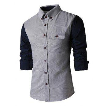 Slimming Shirt Collar Trendy Color Block Pinstripe Splicing Long Sleeve Polyester Men's Shirt