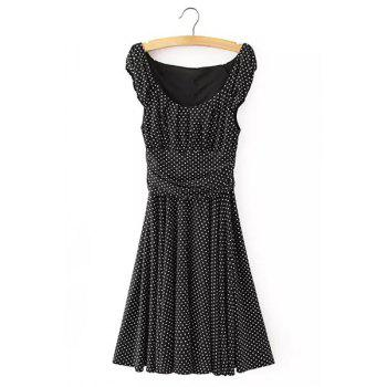 Brief Polka Dot Print Scoop Neck Sleeveless Dress For Women