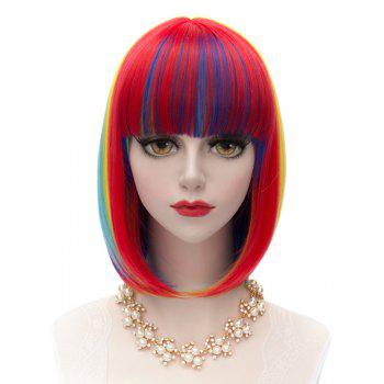 Fashion Synthetic Medium Straight Rainbow Charming Offbeat Full Bang Women's Capless Wig
