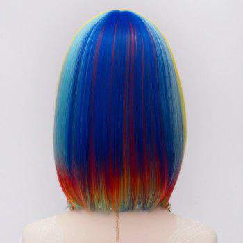 Fashion Synthetic Medium Straight Rainbow Charming Offbeat Full Bang Women's Capless Wig -  COLORMIX