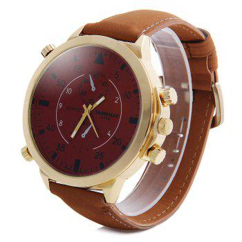 Shiweibao A1104 Analog Quartz Watch with Big Dial Nubuck Leather Band for Men - RED RED