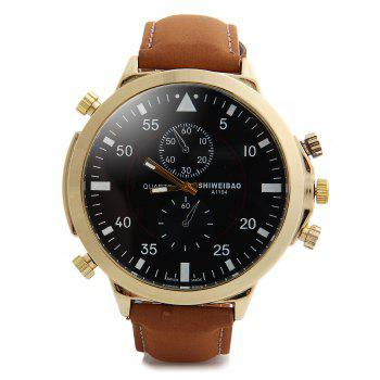 Shiweibao A1104 Analog Quartz Watch with Big Dial Nubuck Leather Band for Men - RED