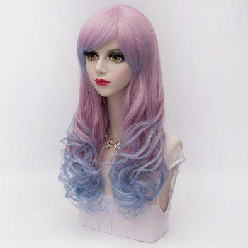 Lolita Anime Coiffure design 60CM Side Bang long ondulé synthétique Harajuku élégant Ombre cosplay perruque - multicolorcolore