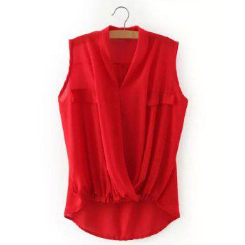 OL Style Candy Color V-Neck Sleeveless Blouse For Women