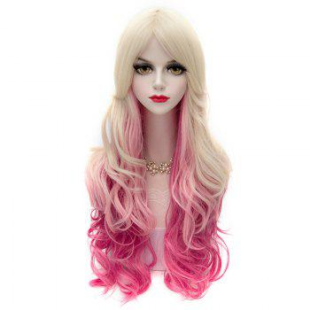 Blonde Gradient Deep Pink Charming Lolita Centre Parting Capless Synthetic Long Wavy Cosplay Women's Wig