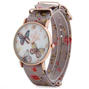 Butterfly Dial Floral Pattern Leather Band Women Casual Quartz Watch - PINK