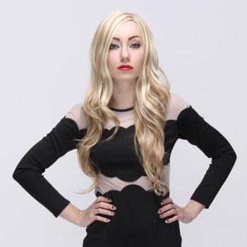 Europe Type Style Side Bang Layered Long Wavy Top Quality Blonde Highlights Women's Synthetic Wig - COLORMIX