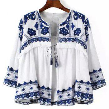 Vintage 3/4 Sleeve Round Collar Lace-Up Ethnic Print Women's Blouse