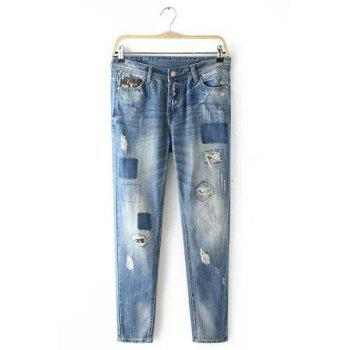 Stylish Broken HoleButton Fly  Patch Design Jeans For Women - LIGHT BLUE 42
