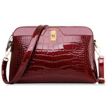 Gorgeous Stone Pattern and Patent Leather Design Crossbody Bag For Women