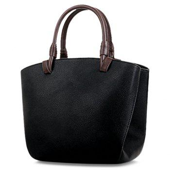 Casual Color Block and PU Leather Design Women's Tote Bag - BLACK BLACK