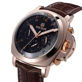 MEGIR 3006 Date Function Water Resistant Male Japan Quartz Watch with Genuine Leather Band Working Sub-dials -  BROWN SILVER BLACK