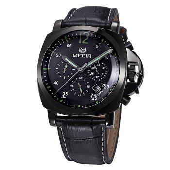 MEGIR 3006 Date Function Water Resistant Male Japan Quartz Watch with Genuine Leather Band Working Sub-dials - BLACK BLACK