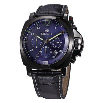 MEGIR 3006 Date Function Water Resistant Male Japan Quartz Watch with Genuine Leather Band Working Sub-dials -  BROWN GOLD BLACK