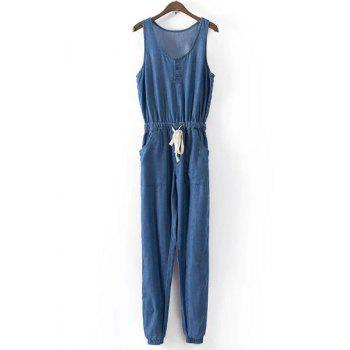 Casual Lace-Up Scoop Neck Sleeveless Jumpsuit For Women