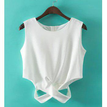 Stylish Sleeveless Round Collar Criss-Cross Solid Color Women's Tank Top