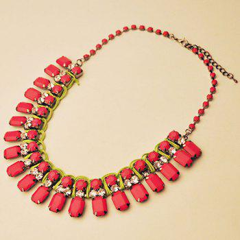 Graceful Faux Red Gemstone Decorated Square Necklace For Women