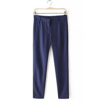 OL Style Pure Color Button Fly Pants For Women