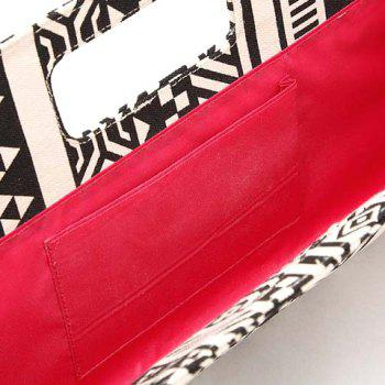 National Style Trible Print and Color Block Design Women's Tote Bag - WHITE/BLACK