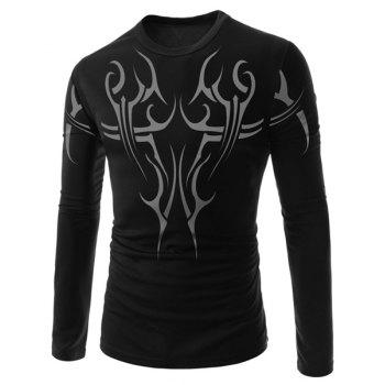 Slimming Round Neck Trendy Tattoo Print Long Sleeve Men's Polyester T-Shirt