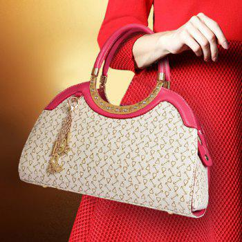 Fashionable Rhinestones and Printed Design Tote Bag For Women -  OFF WHITE