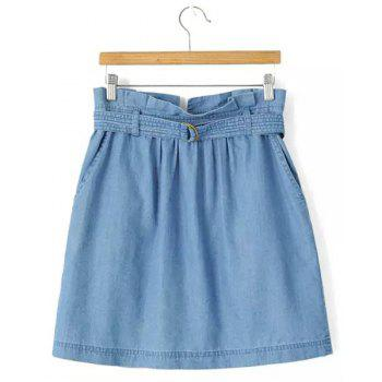 Simple A-Line Zipper Fly Denim Skirt For Women
