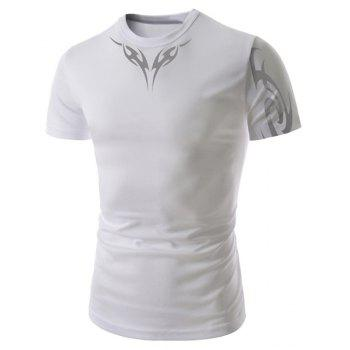 Slimming Round Neck Vogue Abstract Tattoo Print Short Sleeve Men's Polyester T-Shirt