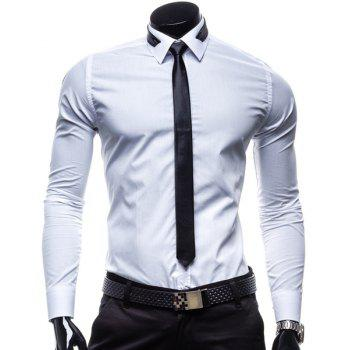 Slimming Shirt Collar Fashion Solid Color Long Sleeve Men's Polyester Business Shirt(with Detachable Tie)