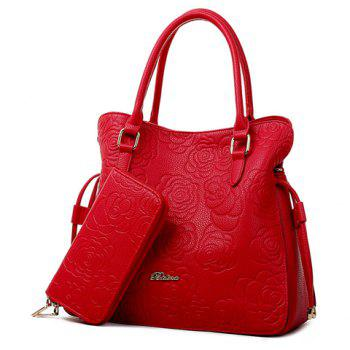 Gorgeous Embossing and Floral Print Design Tote Bag For Women - RED RED