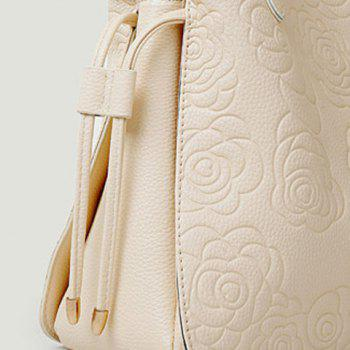 Gorgeous Embossing and Floral Print Design Tote Bag For Women -  RED