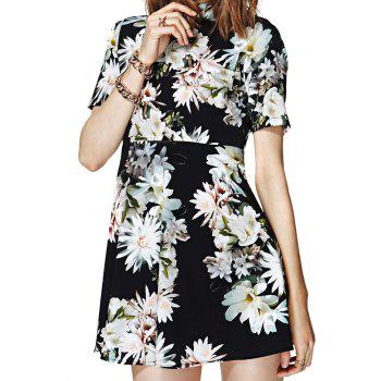 Stylish Turtle Neck Short Sleeve Flower Print Open Back Women's Dress