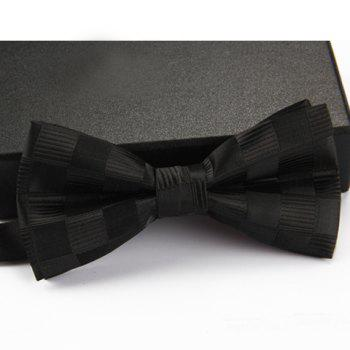 Stylish Checked and Stripe Pattern Men's Bow Tie - BLACK BLACK
